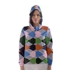 Leather Colorful Diamond Design Hooded Wind Breaker (women)