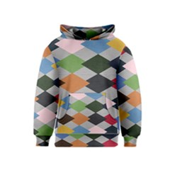Leather Colorful Diamond Design Kids  Pullover Hoodie