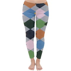 Leather Colorful Diamond Design Classic Winter Leggings