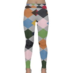 Leather Colorful Diamond Design Classic Yoga Leggings