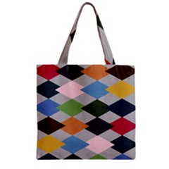 Leather Colorful Diamond Design Zipper Grocery Tote Bag