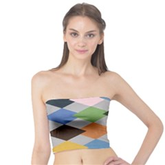 Leather Colorful Diamond Design Tube Top