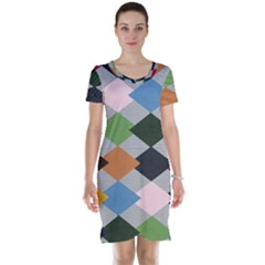 Leather Colorful Diamond Design Short Sleeve Nightdress