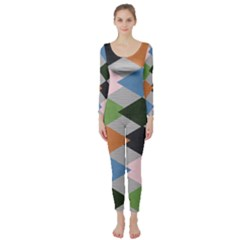 Leather Colorful Diamond Design Long Sleeve Catsuit