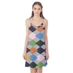 Leather Colorful Diamond Design Camis Nightgown