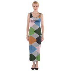 Leather Colorful Diamond Design Fitted Maxi Dress