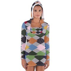 Leather Colorful Diamond Design Women s Long Sleeve Hooded T Shirt