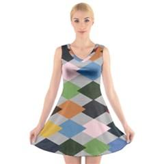 Leather Colorful Diamond Design V-Neck Sleeveless Skater Dress