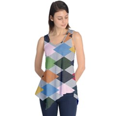 Leather Colorful Diamond Design Sleeveless Tunic