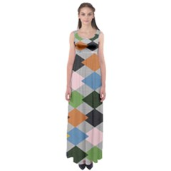 Leather Colorful Diamond Design Empire Waist Maxi Dress