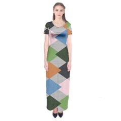 Leather Colorful Diamond Design Short Sleeve Maxi Dress
