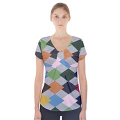 Leather Colorful Diamond Design Short Sleeve Front Detail Top