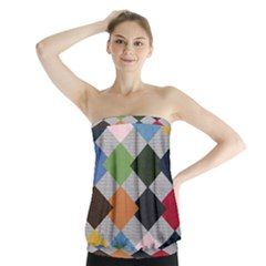 Leather Colorful Diamond Design Strapless Top