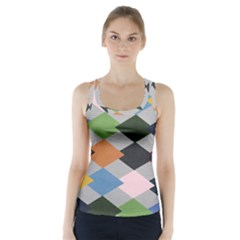 Leather Colorful Diamond Design Racer Back Sports Top