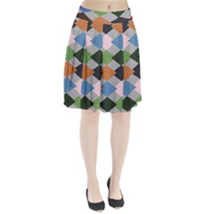 Leather Colorful Diamond Design Pleated Skirt