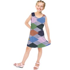 Leather Colorful Diamond Design Kids  Tunic Dress