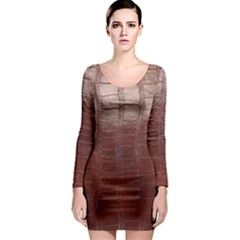 Leather Snake Skin Texture Long Sleeve Bodycon Dress