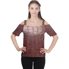 Leather Snake Skin Texture Women s Cutout Shoulder Tee