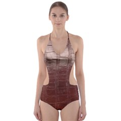 Leather Snake Skin Texture Cut-Out One Piece Swimsuit