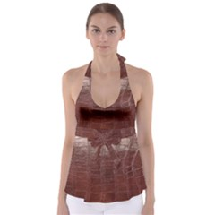 Leather Snake Skin Texture Babydoll Tankini Top