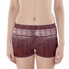 Leather Snake Skin Texture Boyleg Bikini Wrap Bottoms