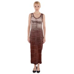 Leather Snake Skin Texture Fitted Maxi Dress