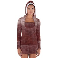 Leather Snake Skin Texture Women s Long Sleeve Hooded T-shirt