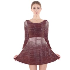 Leather Snake Skin Texture Long Sleeve Velvet Skater Dress