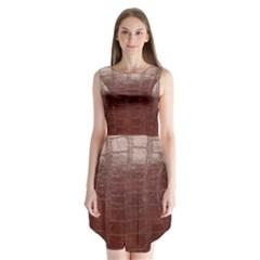 Leather Snake Skin Texture Sleeveless Chiffon Dress