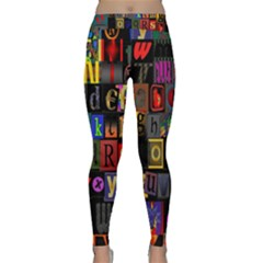 Letters A Abc Alphabet Literacy Classic Yoga Leggings