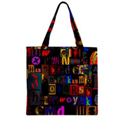 Letters A Abc Alphabet Literacy Zipper Grocery Tote Bag