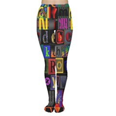 Letters A Abc Alphabet Literacy Women s Tights