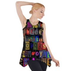Letters A Abc Alphabet Literacy Side Drop Tank Tunic