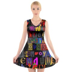 Letters A Abc Alphabet Literacy V Neck Sleeveless Skater Dress