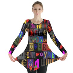 Letters A Abc Alphabet Literacy Long Sleeve Tunic