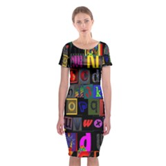Letters A Abc Alphabet Literacy Classic Short Sleeve Midi Dress