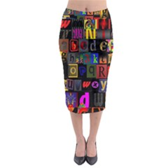Letters A Abc Alphabet Literacy Midi Pencil Skirt