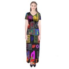 Letters A Abc Alphabet Literacy Short Sleeve Maxi Dress
