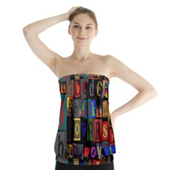 Letters A Abc Alphabet Literacy Strapless Top