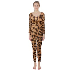 Leopard Print Animal Print Backdrop Long Sleeve Catsuit