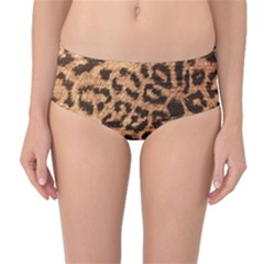 Leopard Print Animal Print Backdrop Mid-Waist Bikini Bottoms