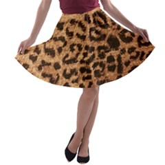 Leopard Print Animal Print Backdrop A Line Skater Skirt