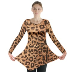 Leopard Print Animal Print Backdrop Long Sleeve Tunic