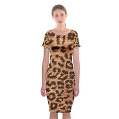 Leopard Print Animal Print Backdrop Classic Short Sleeve Midi Dress