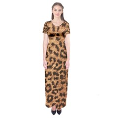 Leopard Print Animal Print Backdrop Short Sleeve Maxi Dress