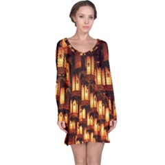 Light Art Pattern Lamp Long Sleeve Nightdress