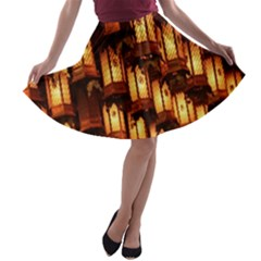 Light Art Pattern Lamp A-line Skater Skirt