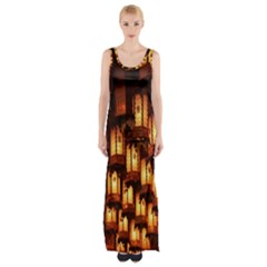 Light Art Pattern Lamp Maxi Thigh Split Dress