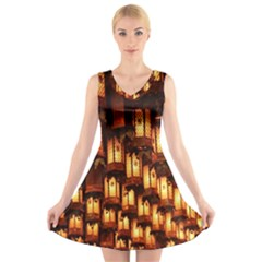 Light Art Pattern Lamp V Neck Sleeveless Skater Dress