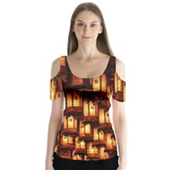 Light Art Pattern Lamp Butterfly Sleeve Cutout Tee